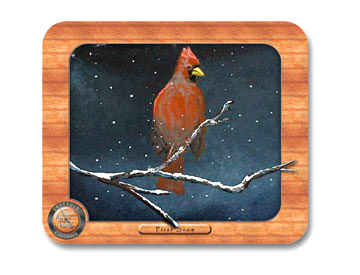Cardinal and following snow Mouse Pad