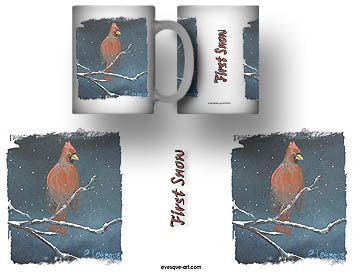 Cardinal and fallowing snow Mug